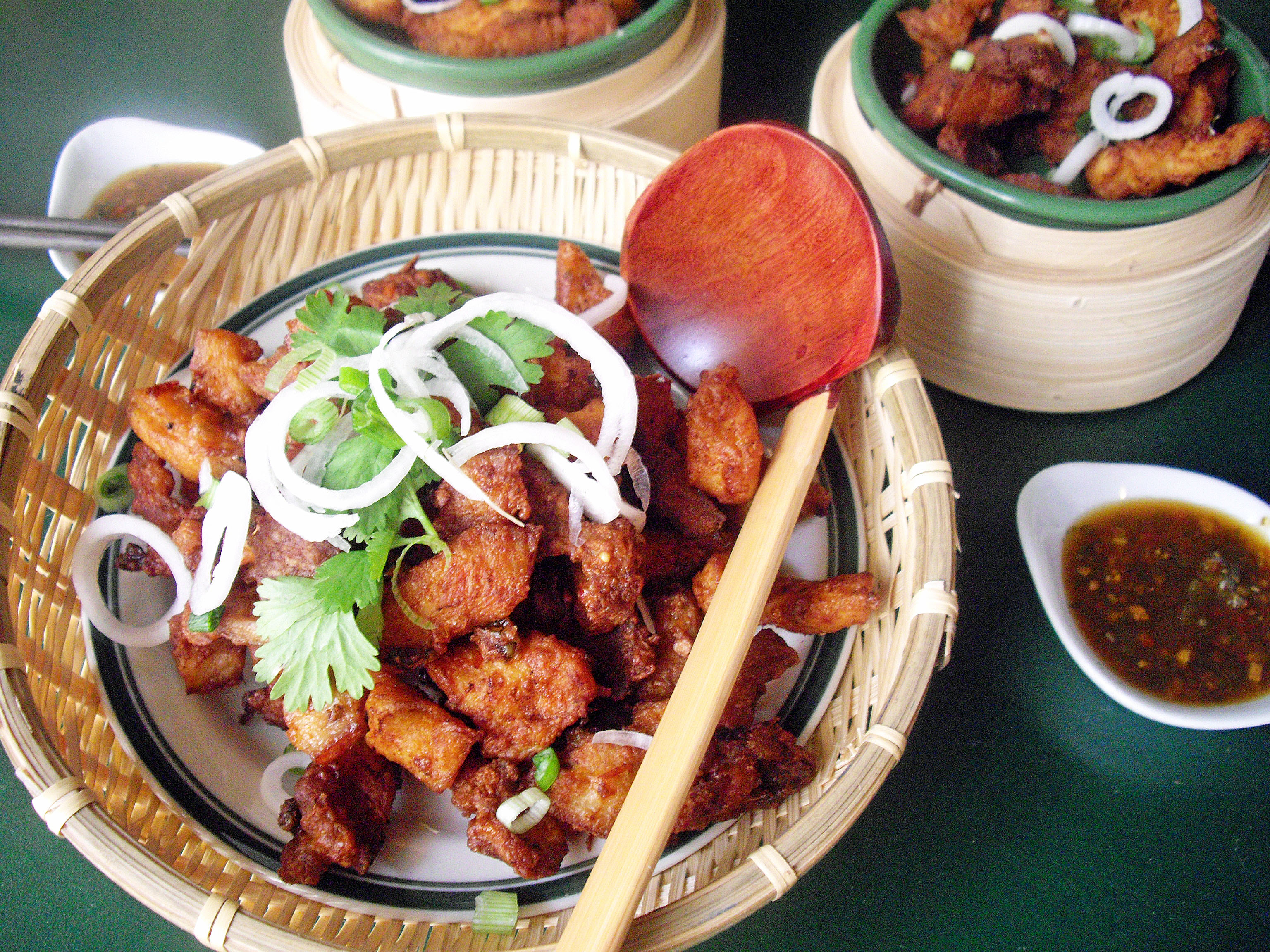The crispy fried pork belly and chicken can also serve as an appetizer ...