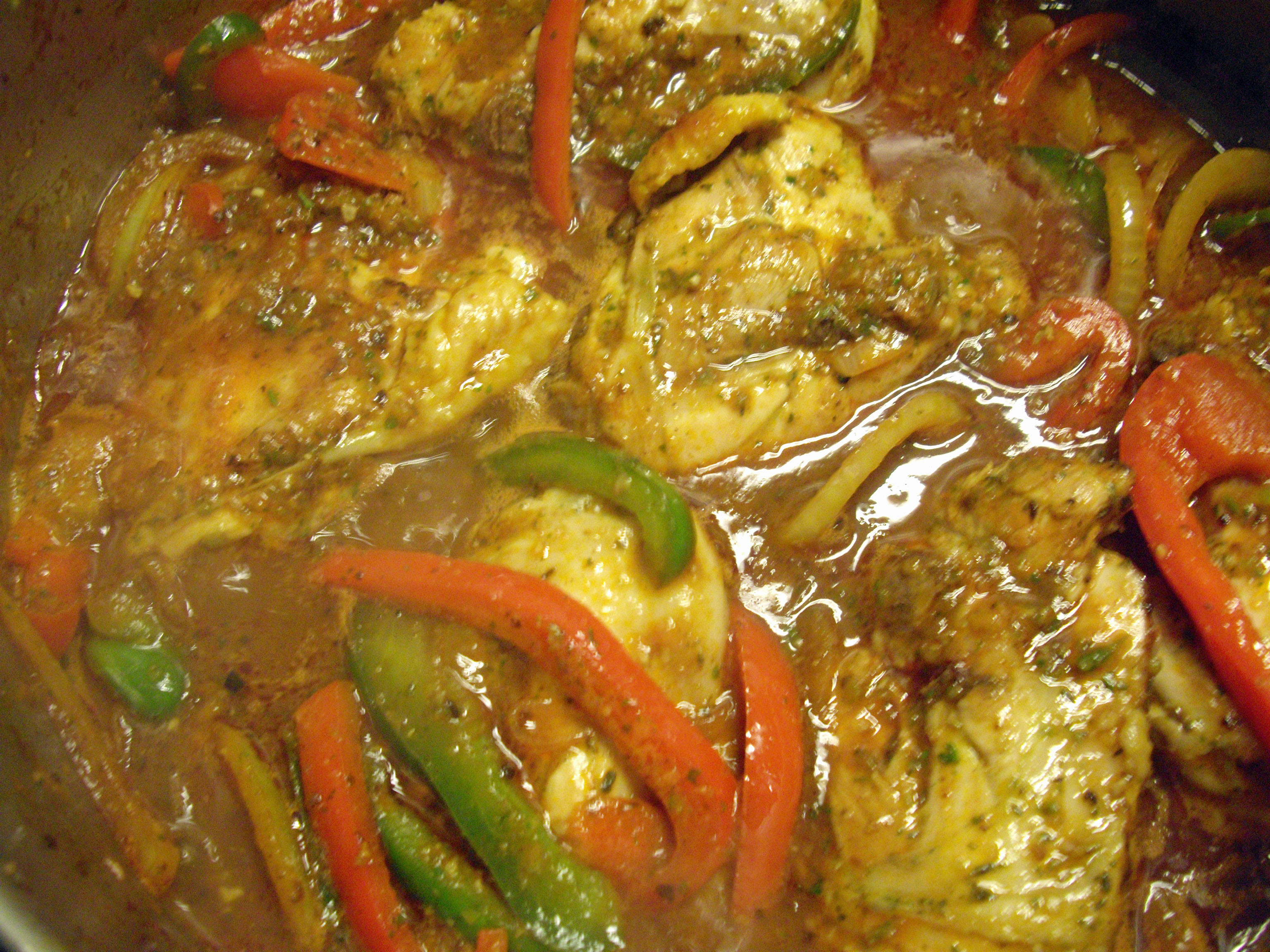 Haitian poulet creole with pikliz cooking in sens - French creole cuisine ...
