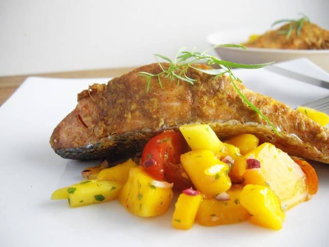 Planked Salmon with Mango and Cherry Tomato Salsa ...
