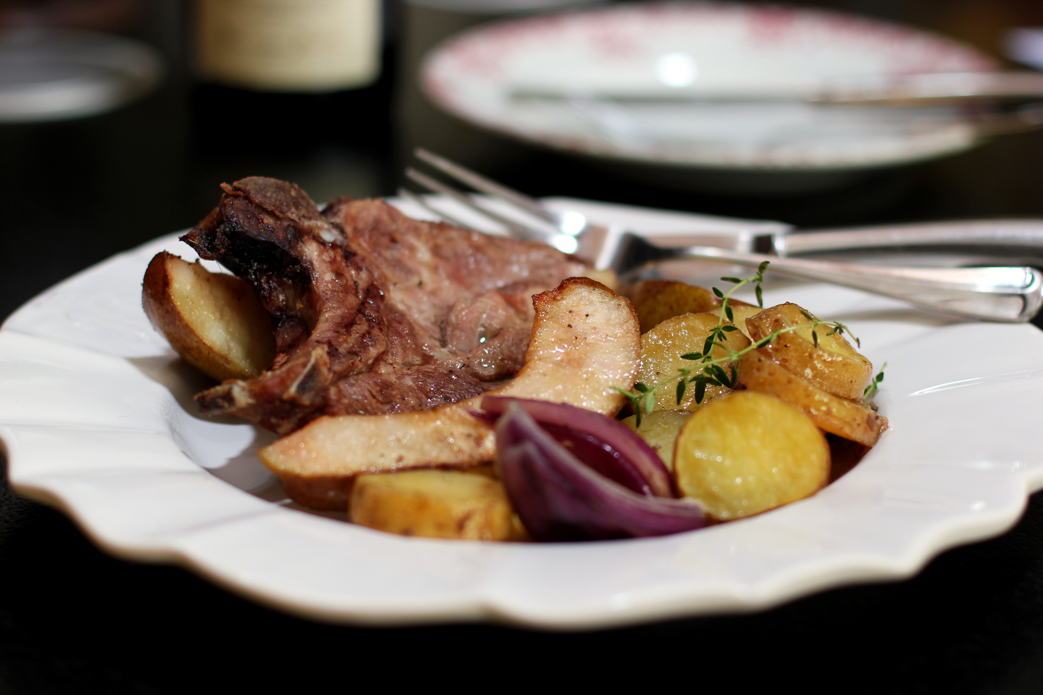... Farm: Pork Chops with Roquefort Butter and Pears | Cooking in Sens