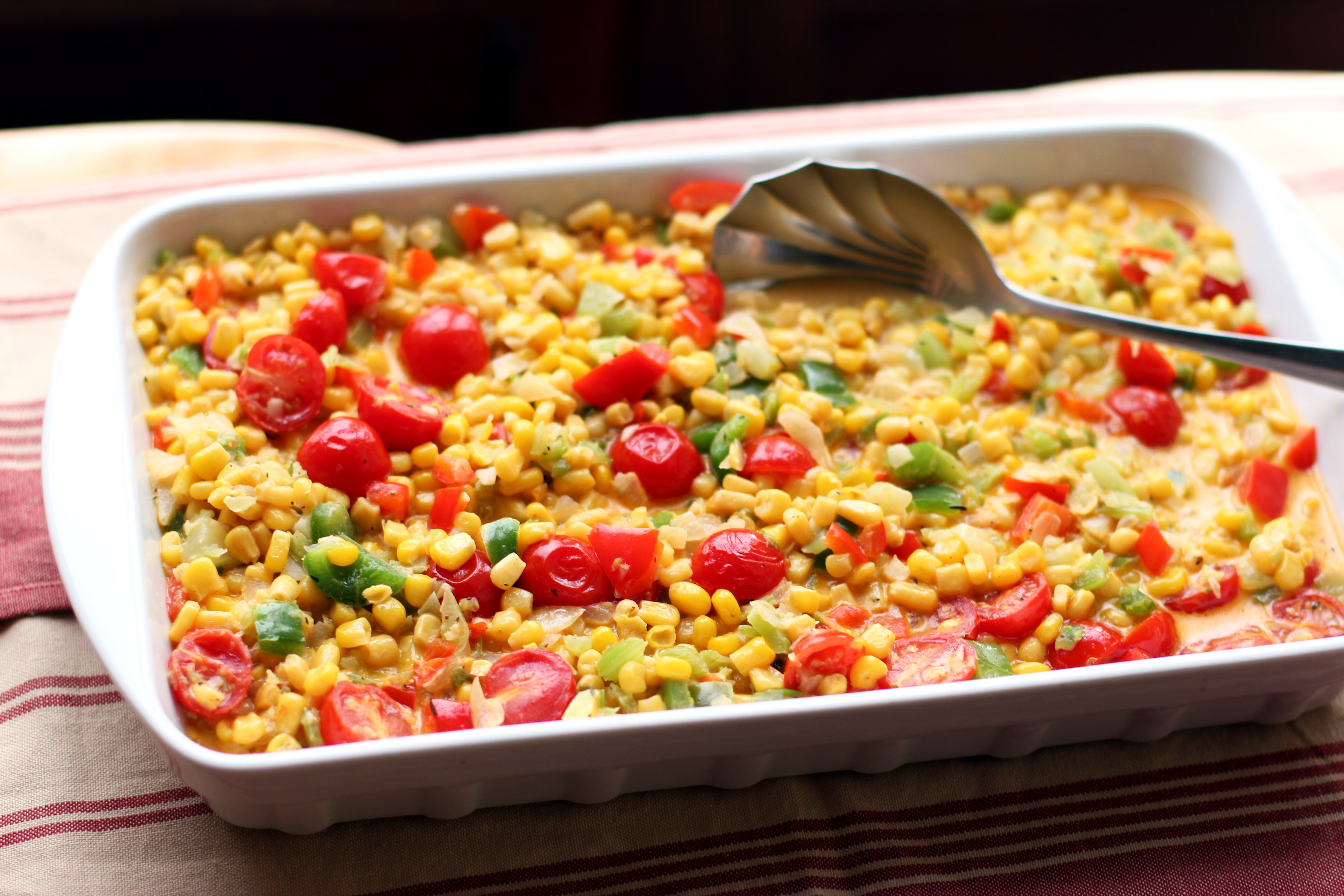 Maque Choux is a Louisiana succotash with robust, Creole spiciness.