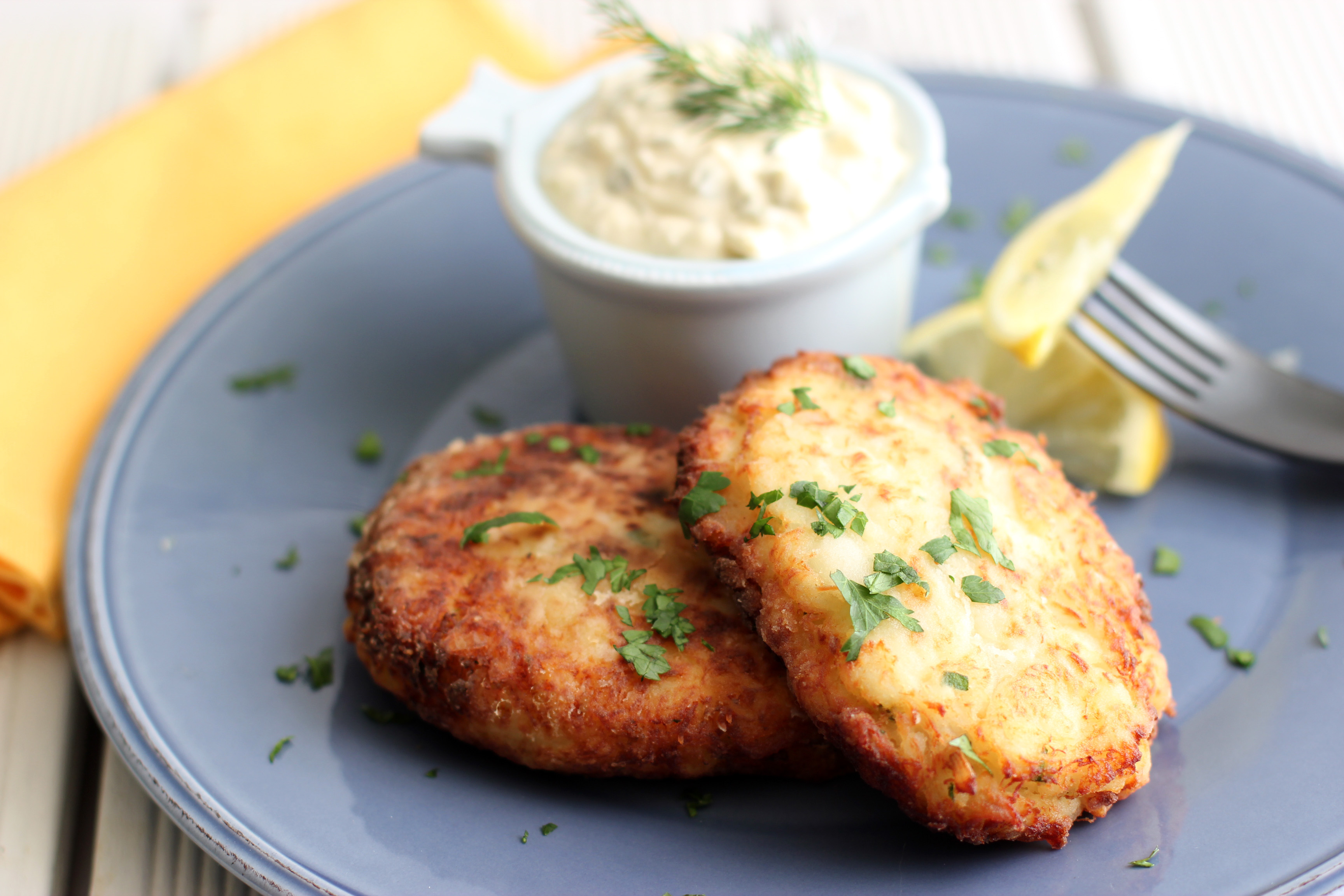 the perfect fish cake with homemade tartar sauce cooking