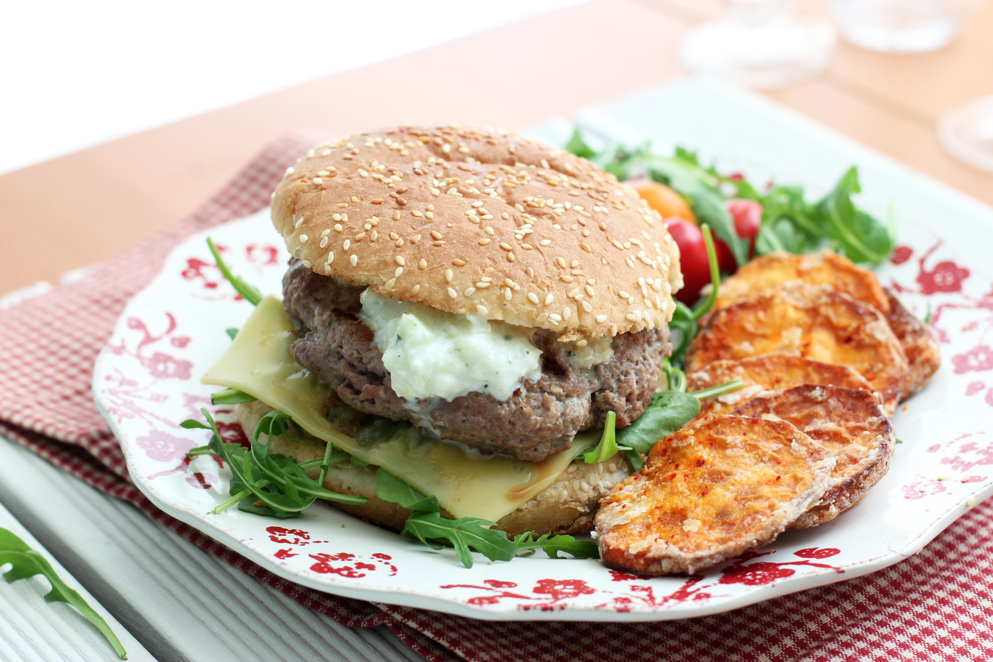 Grilled Lamb Burgers Tzatziki and Fried Sweet Potatoes | Cooking in ...